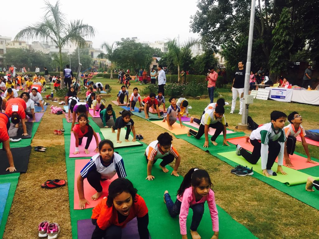 Sanskar students create record at the Jaipur Yoga League Surya Namaskar Competition